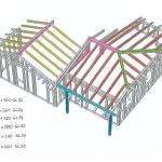 Modello tridimensionale dell'ampliamento con indicazione delle sezioni impiegate